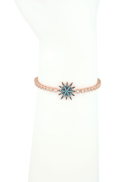 Adjustable Rose Gold Bracelet, Turquoise Star Charm