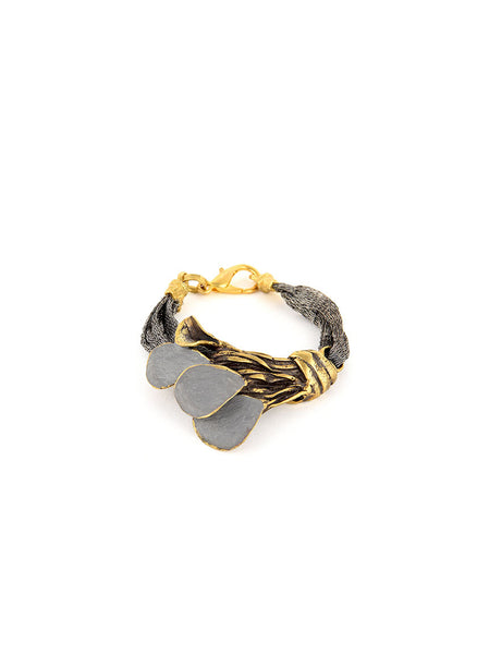 Gold Metal Bracelet with Metal Band