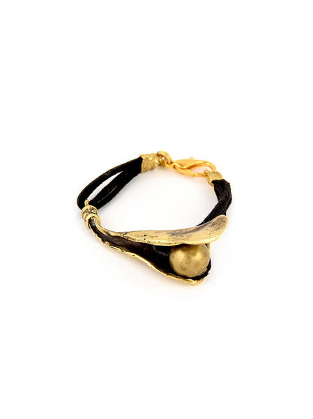 Gold Metal Bracelet with Leather Band