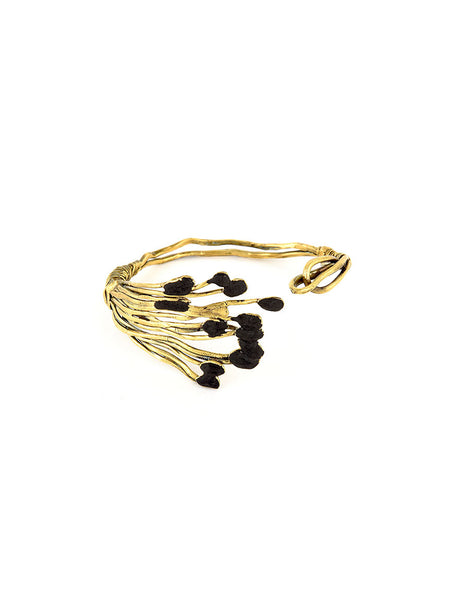 Gold Metal Bracelet with Black Design