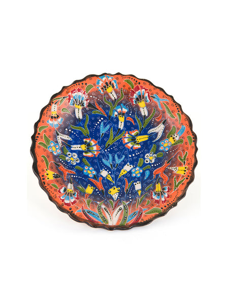 "Decorative Plate 7"" Orange/Blue"