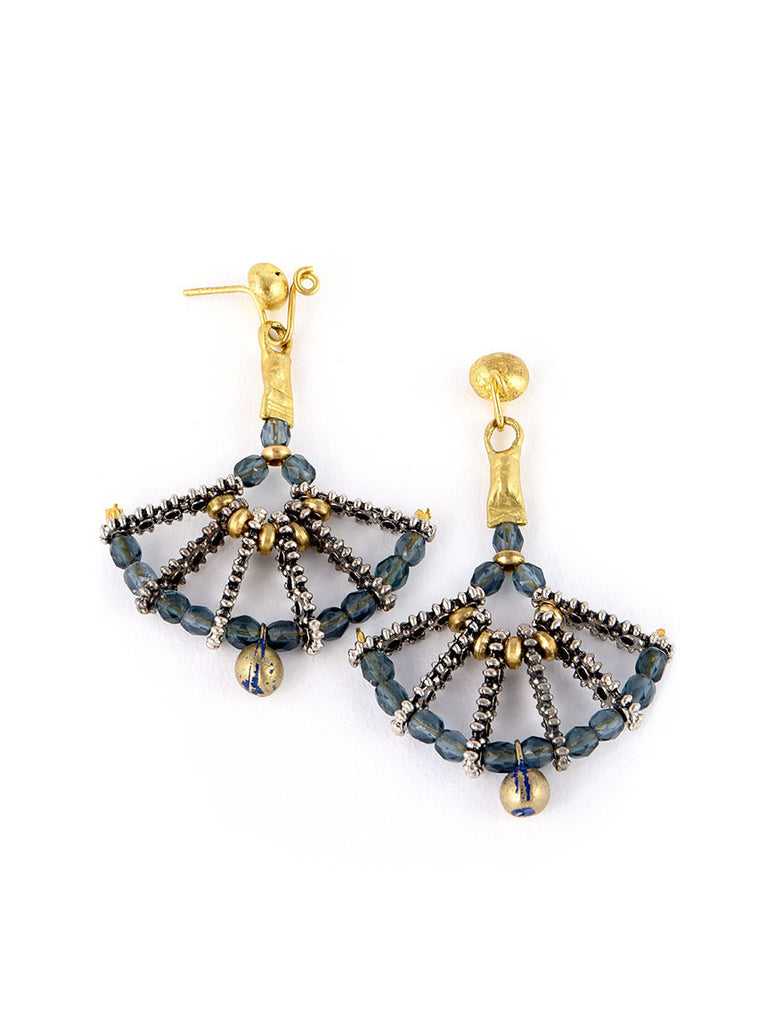 Gold Metal Earrings, Chandelier