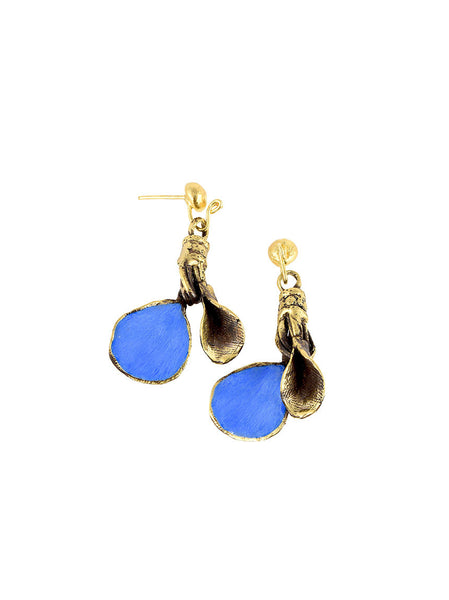 Blue Gold Metal Earrings