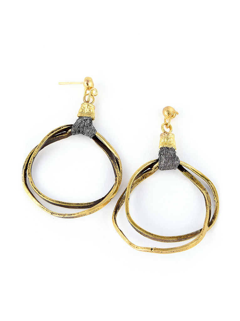 Gold Metal Earrings, Hoop