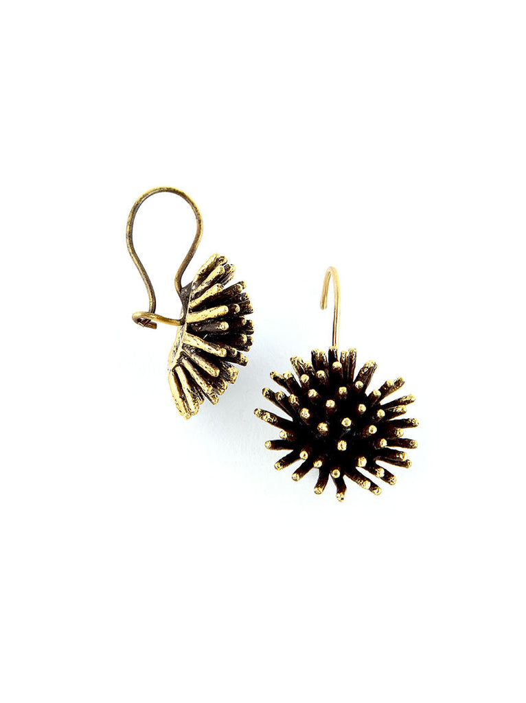 Gold Metal Earrings, Pom