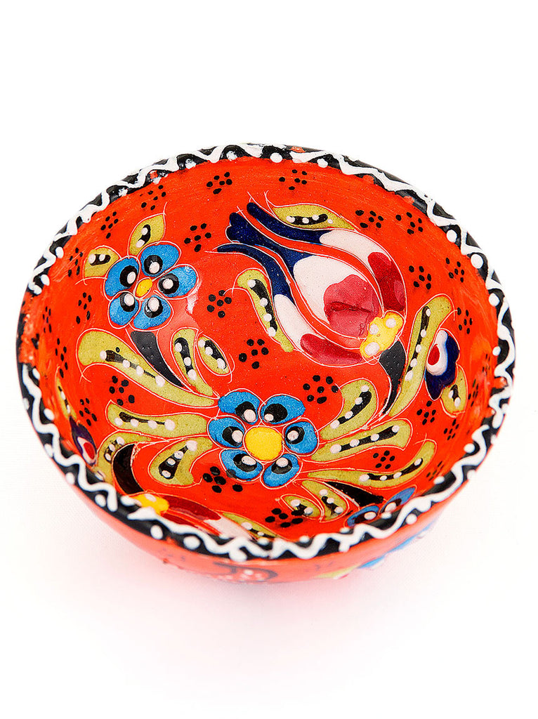 "Hand Painted Bowl 3"" Bright Orange"