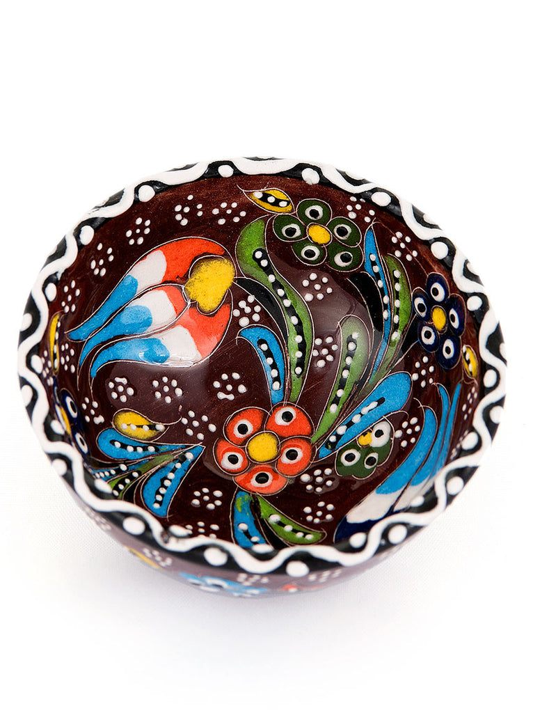"Hand Painted Bowl 3"" Brown"