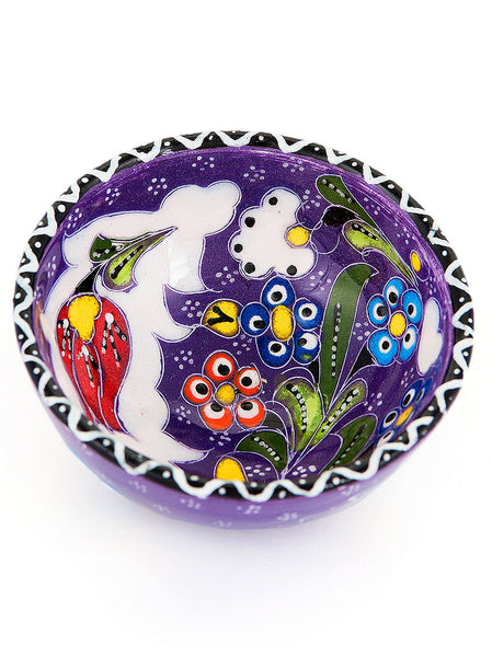 "Hand Painted Bowl 3"" Purple"
