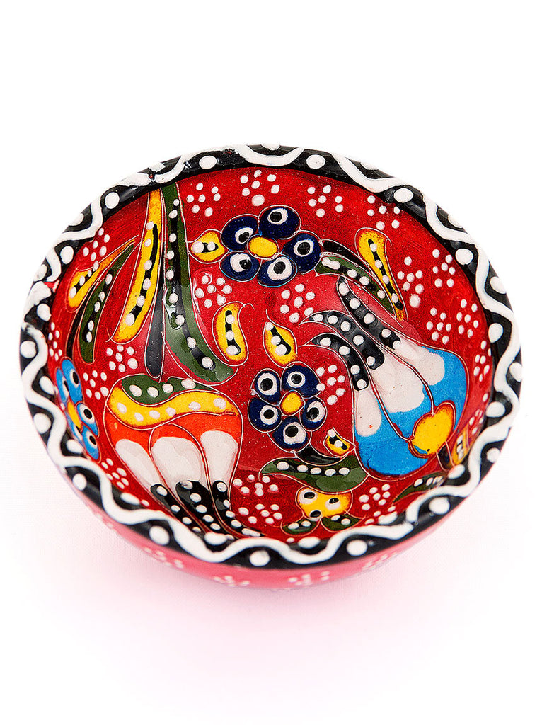 "Hand Painted Bowl 3"" Red"