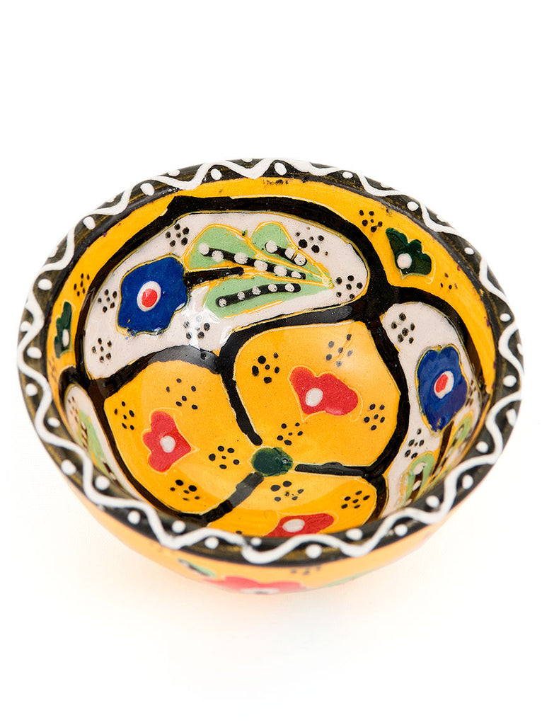 "Hand Painted Bowl 3"" Yellow"