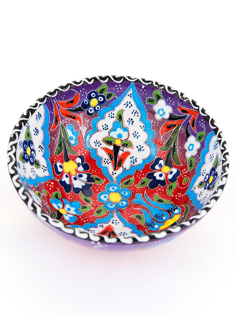 "Hand Painted Bowl 5"" Purple"