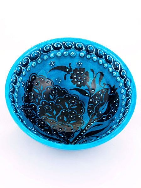 "Hand Painted Bowl 5"" Teal"