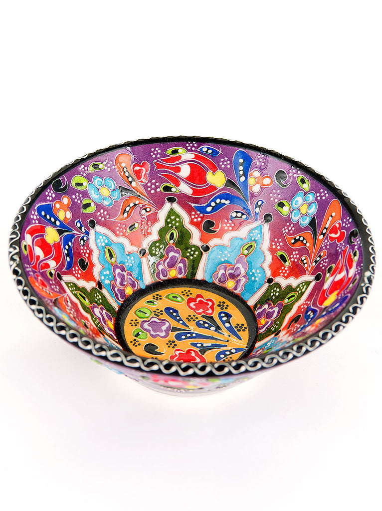 "Hand Painted Bowl 5"" Purple/Red"