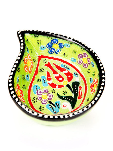 "Hand Painted Bowl 4"" Light Green"