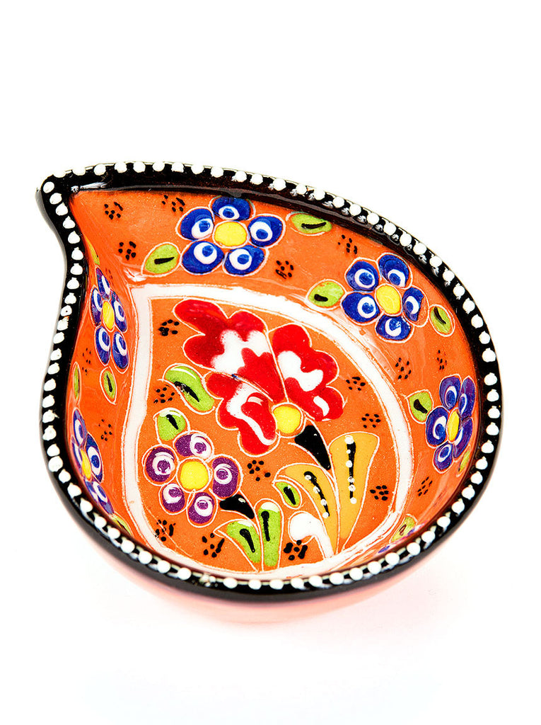 "Hand Painted Bowl 4"" Orange"