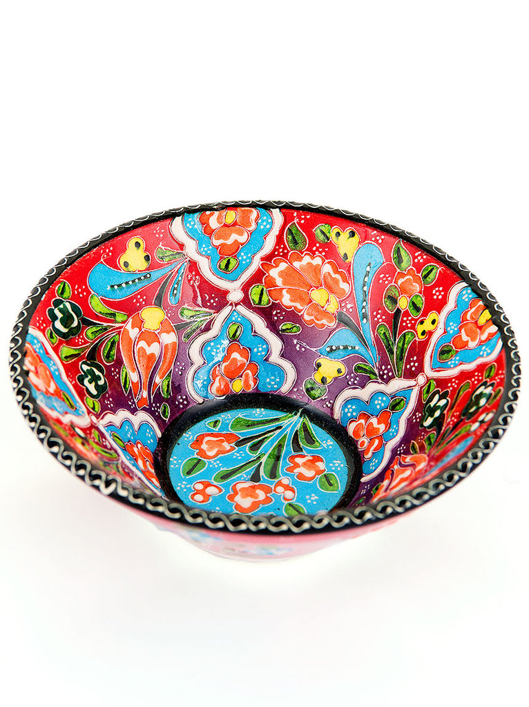 "Hand Painted Bowl 5"" Red"