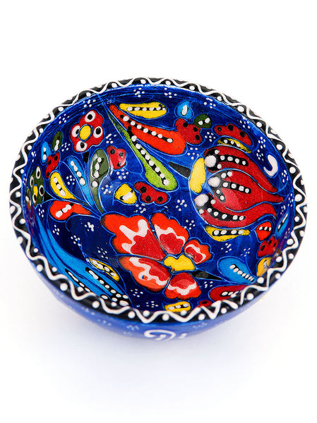 "Hand Painted Bowl 3"" Dark Blue"