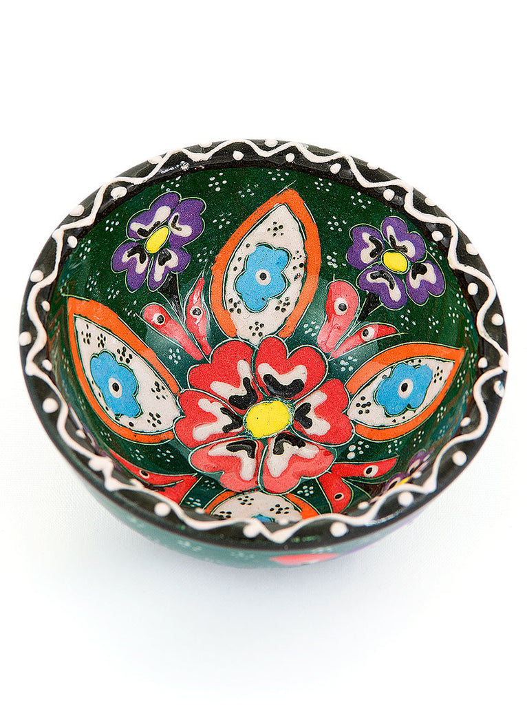 "Hand Painted Bowl 3"" Emerald"