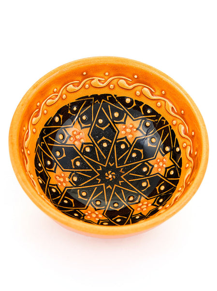 "Hand Painted Bowl 3"" Gold"