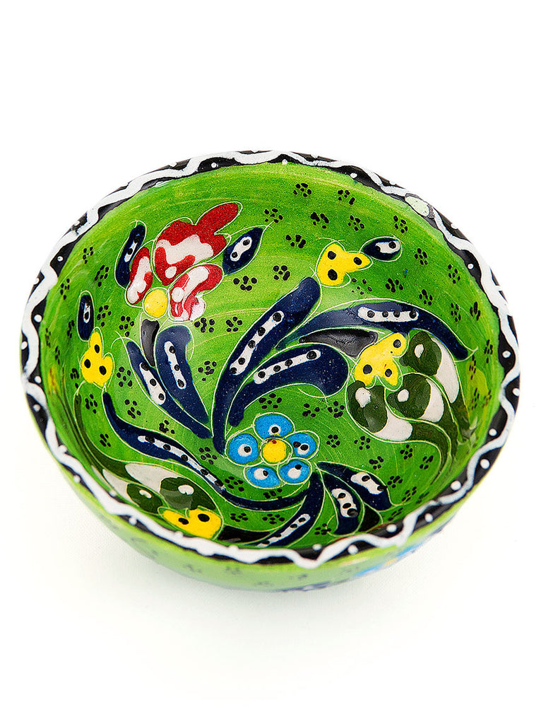 "Hand Painted Bowl 3"" Green"