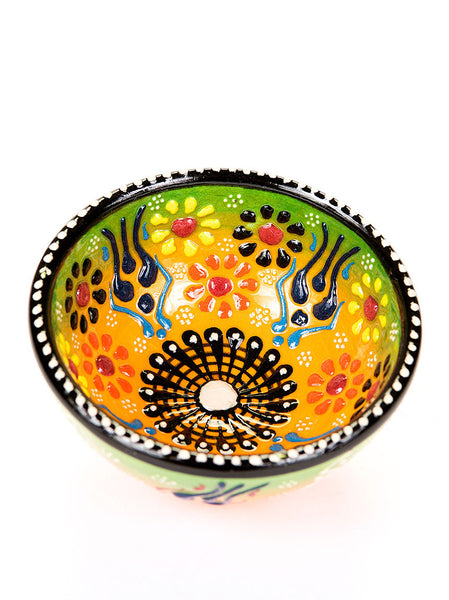 "Hand Painted Bowl 3"" Green/Yellow"