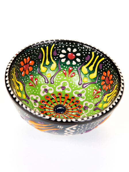"Hand Painted Bowl 3"" Dark/Light Green"