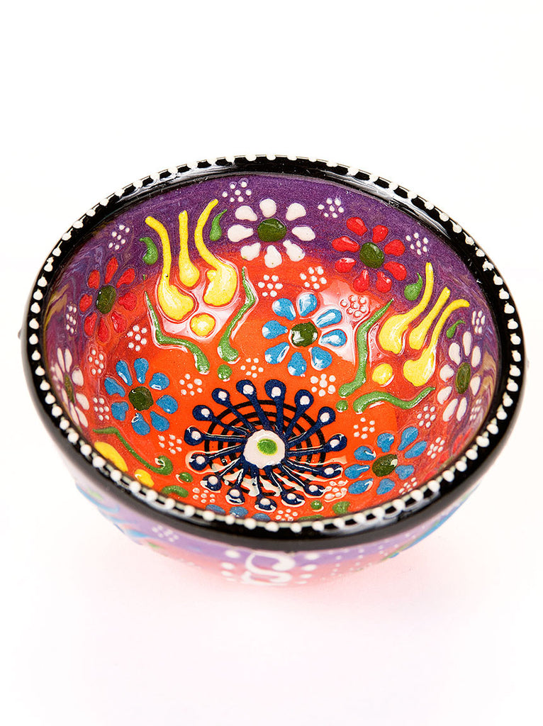 "Hand Painted Bowl 3"" Orange/Purple"