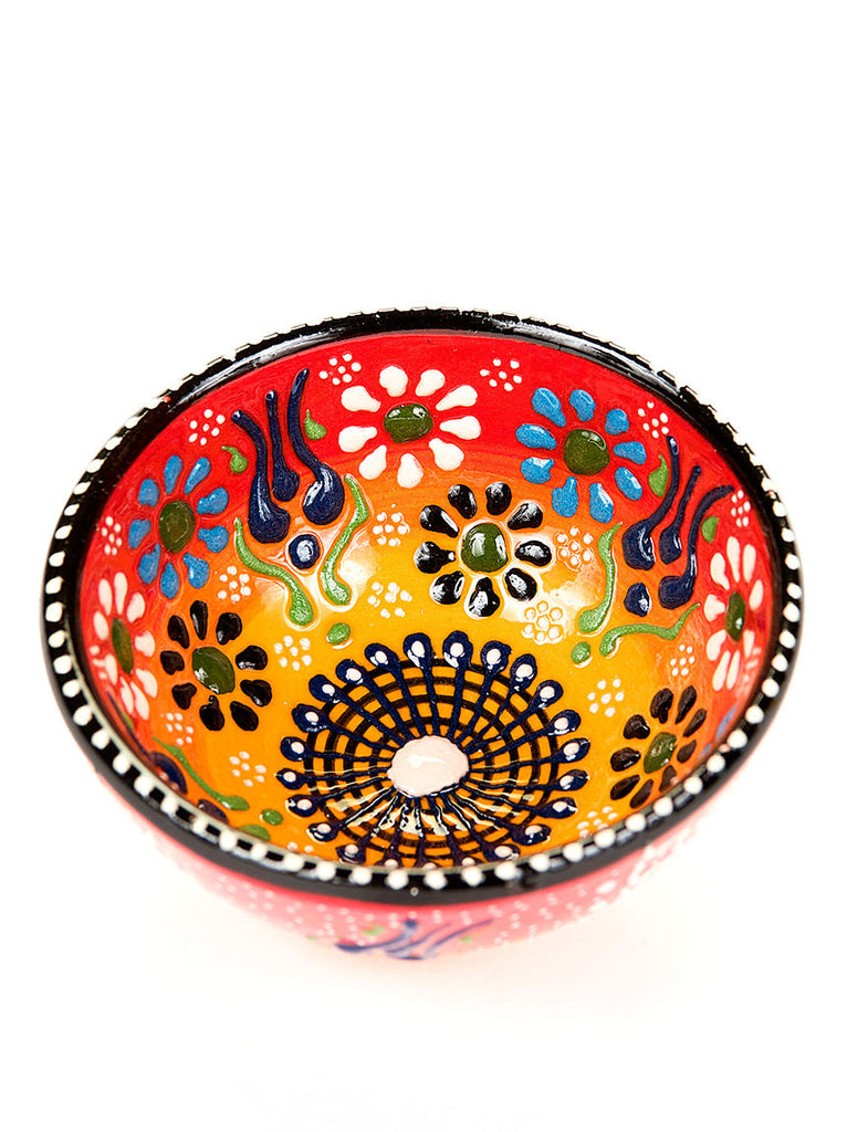 "Hand Painted Bowl 3"" Red/Yellow"