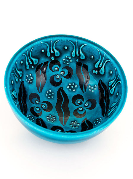 "Hand Painted Bowl 3"" Teal"