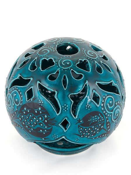 Hand Painted Candleholders - Teal