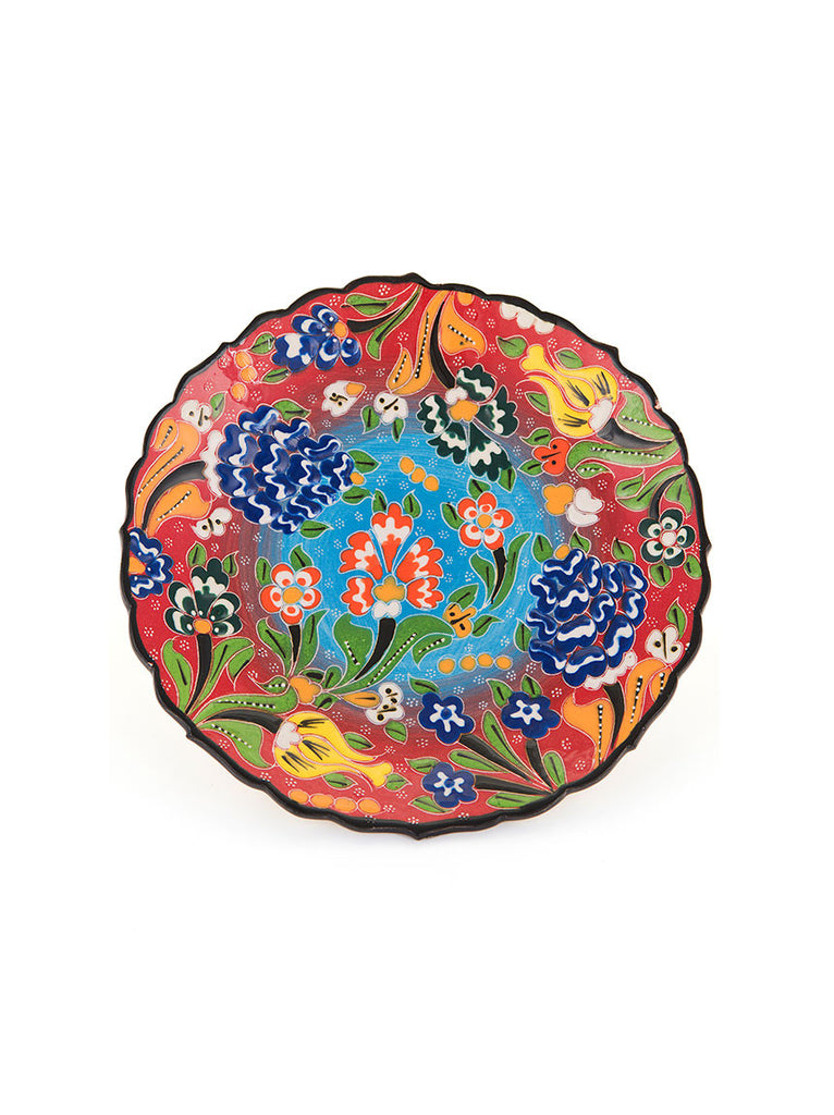 "Decorative Plate 7"" Red/Light Blue"