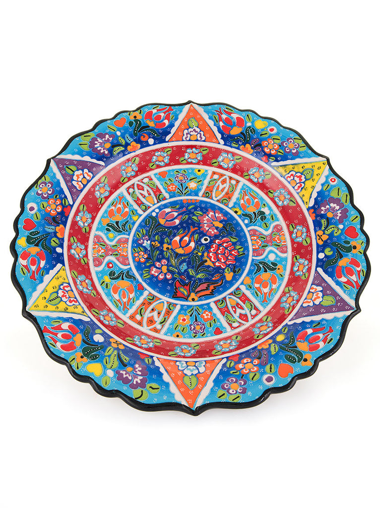 "Decorative Plate 12"" Blue/Red"