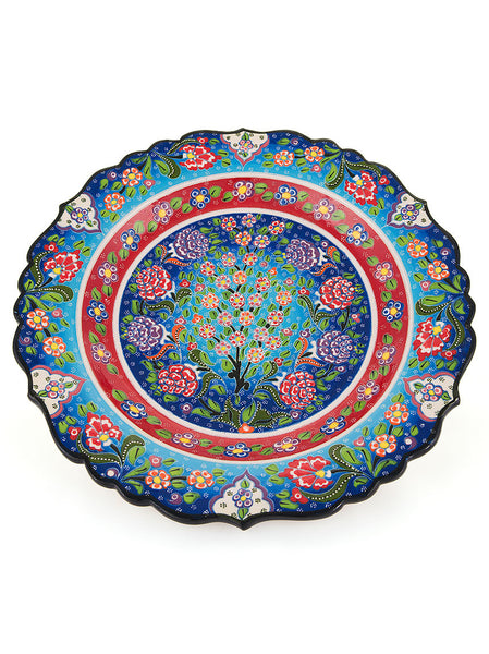 "Decorative Plate 12"" Light Blue/Red"