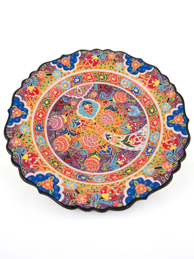 "Decorative Plate 12"" Orange/Blue"