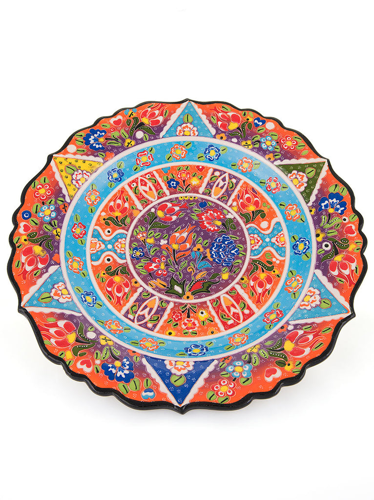 "Decorative Plate 12"" Orange/Light Blue"
