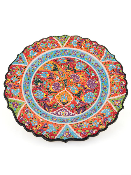 "Decorative Plate 12"" Red/Light Blue"