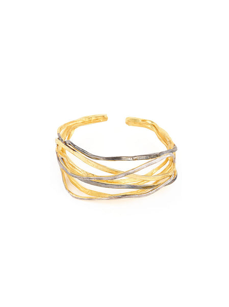 Gold and Silver Metal Twisted Bracelet
