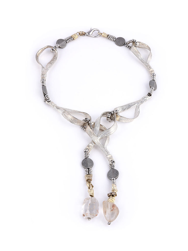 Wrap Necklace - Silver Metal with Glass Stones