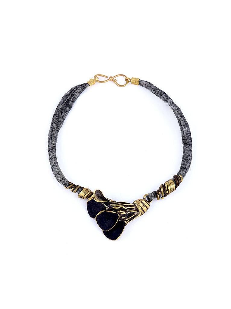 Necklace with Gold Metal and Black Design