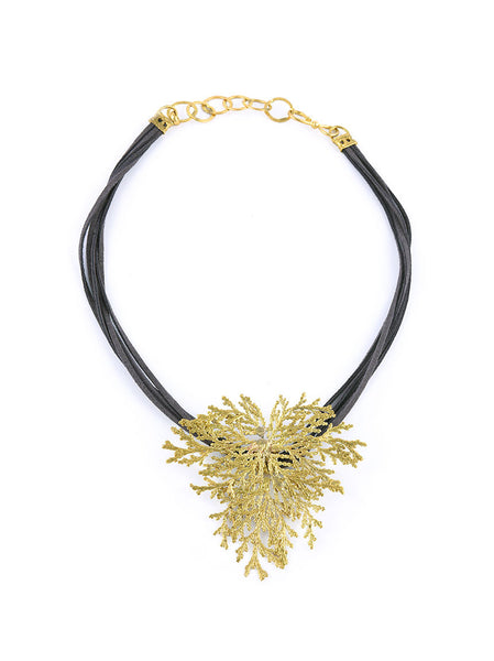 Necklace with Gold Metal Leaf