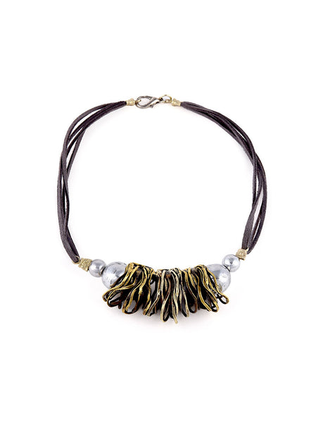 Statement Necklace with Gold Metal Design