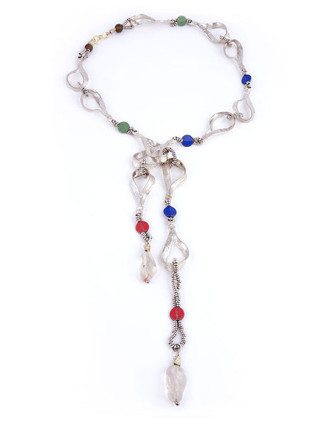 Silver Metal Necklace, Multi-Colored