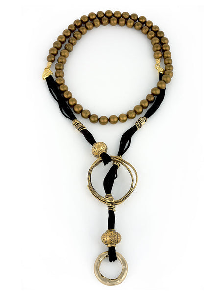 Long Wrap Necklace with Gold Metal