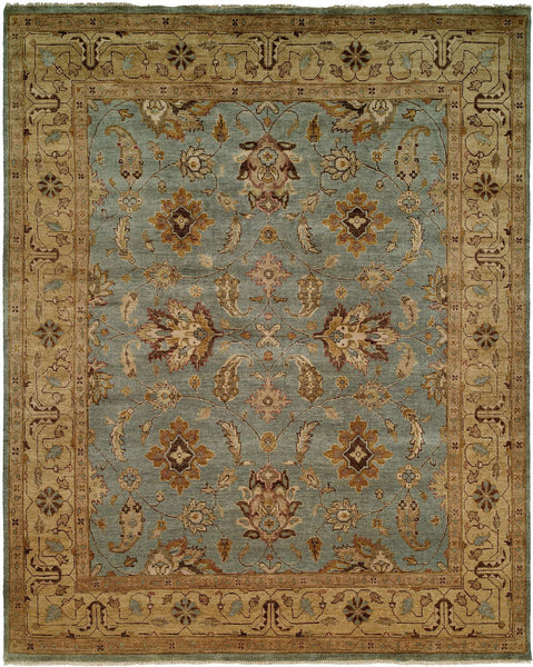 Oushak Rug LOU-416 Light Blue/Gold