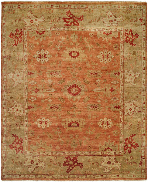 Oushak Rug LOU-455 Terracotta / Light Green