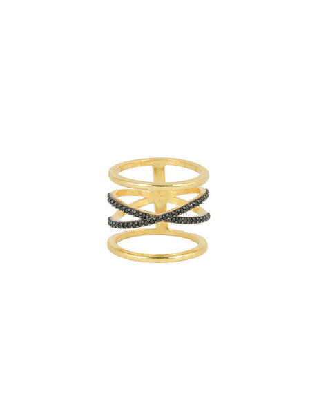 925 Silver Ring, Gold & Onyx