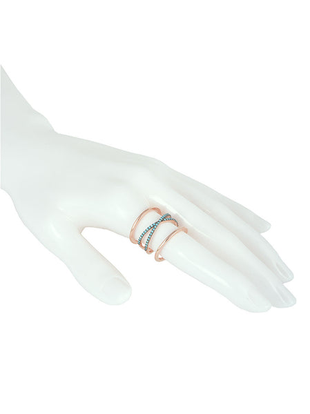 925 Silver Ring, Rose Gold & Turquoise