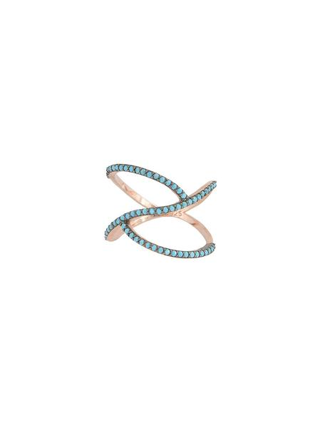 Sterling Silver Rose Gold Wave Ring with Turquoise Stones
