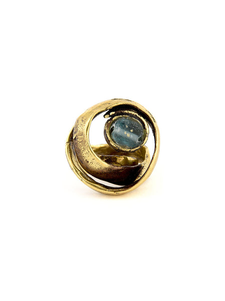 Statement Ring, Gold Metal with Turquoise Design