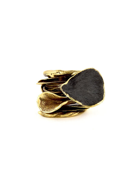 Statement Ring, Gold Metal with Black Design